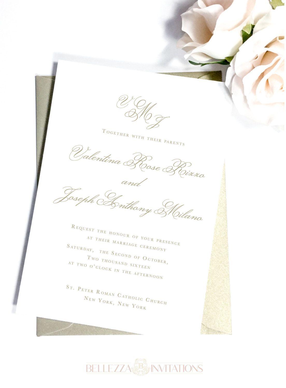 Simple Elegant Gold Wedding Invitations Simple Elegant Wedding