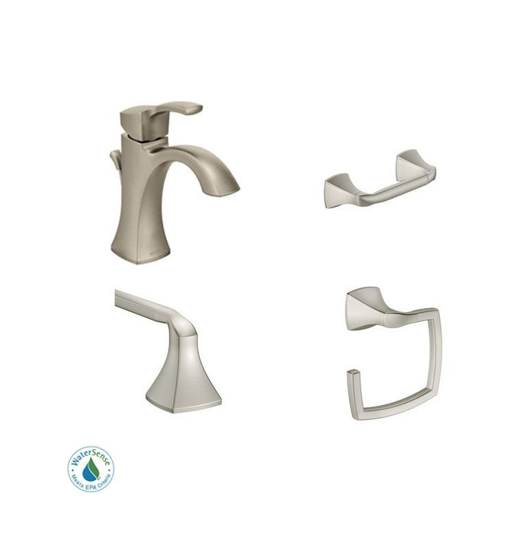 Moen Voss Faucet and Accessory Bundle 2 with Single Hole Bathroom Faucet Toilet Brushed Nickel Faucet Lavatory Combination