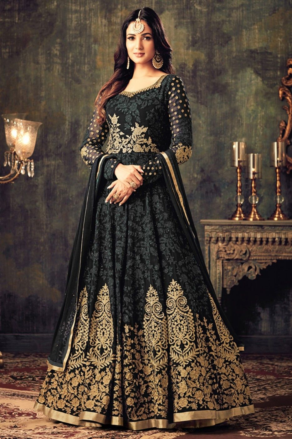 b6079c76af Sonal chauhan black georgette party wear anarkali suit 4705 | Sonal ...