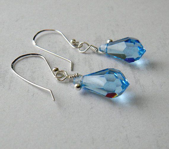 Aquamarine Crystal Earrings by JulieEllisDesigns on Etsy