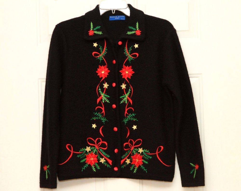 Karen Scott Women's 100% Wool Christmas Cardigan Sweater Size Petite Small NICE! #KarenScott #Christmas #holidays #festivefashion