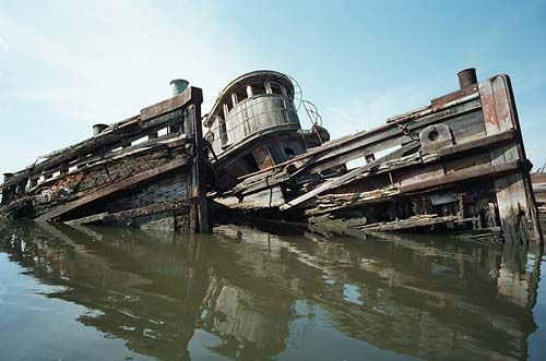 Old Vessel decomposing in Ship Graveyard on the Arthur Kill in Rossville, Staten Island, NY.