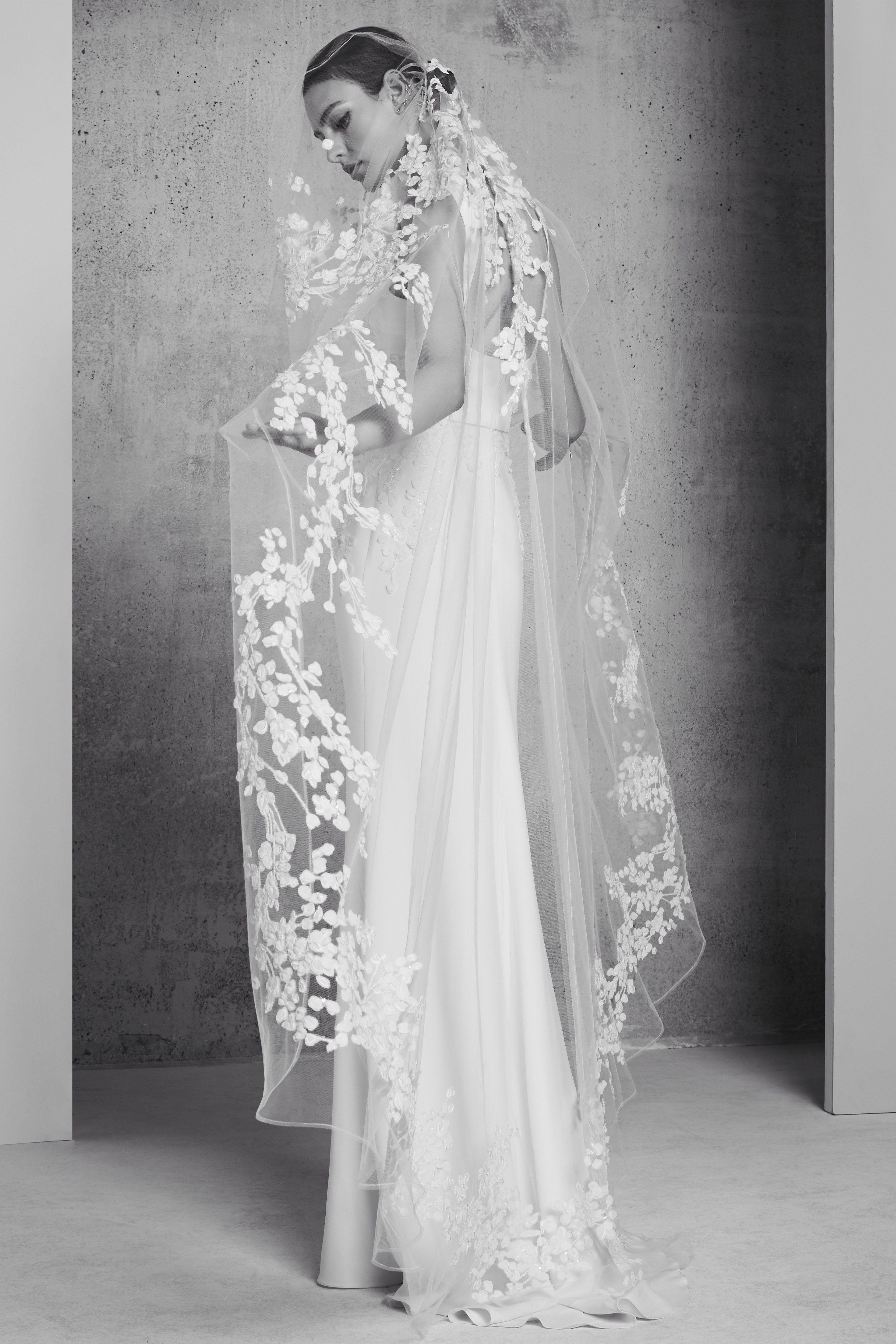 Elie saab satin sheath dress with long flowerembellished veil