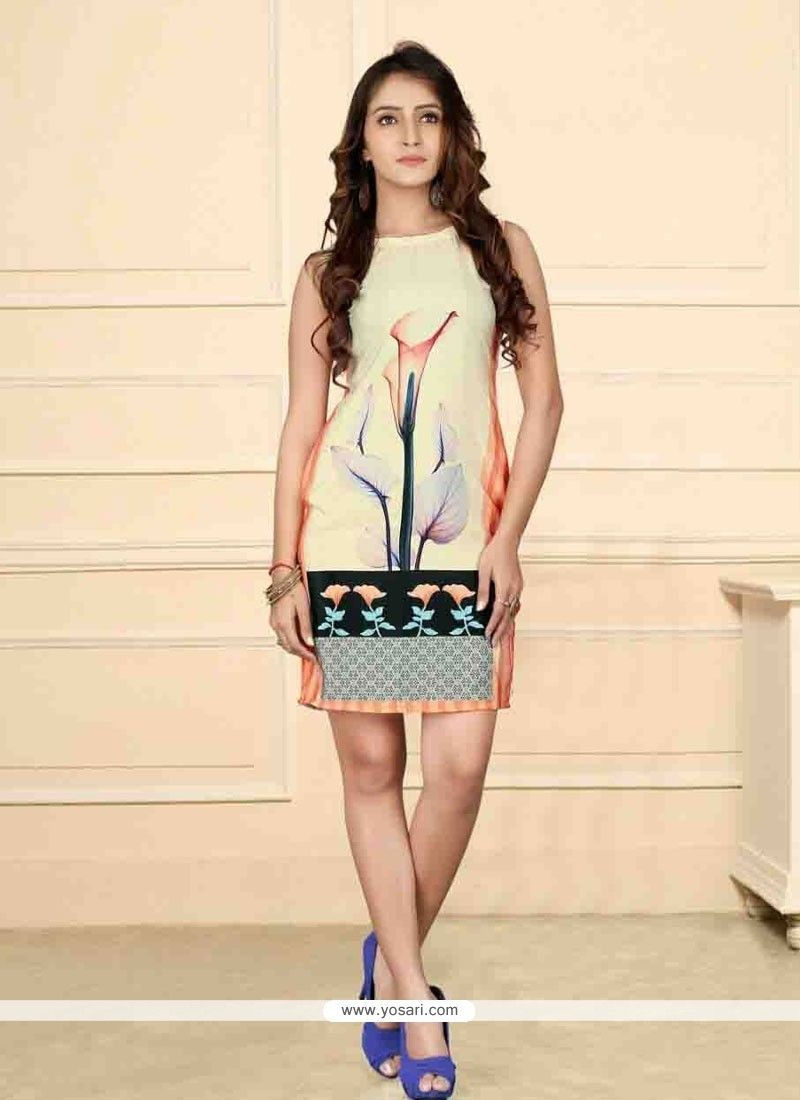 Stylish Print Work Party Wear Kurti Model: YOKU567