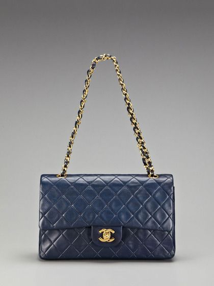 820a0e7a1988 Vintage Navy Quilted Lambskin Leather Large Classic 2.55 Double Flap Bag by  Chanel on Gilt.com