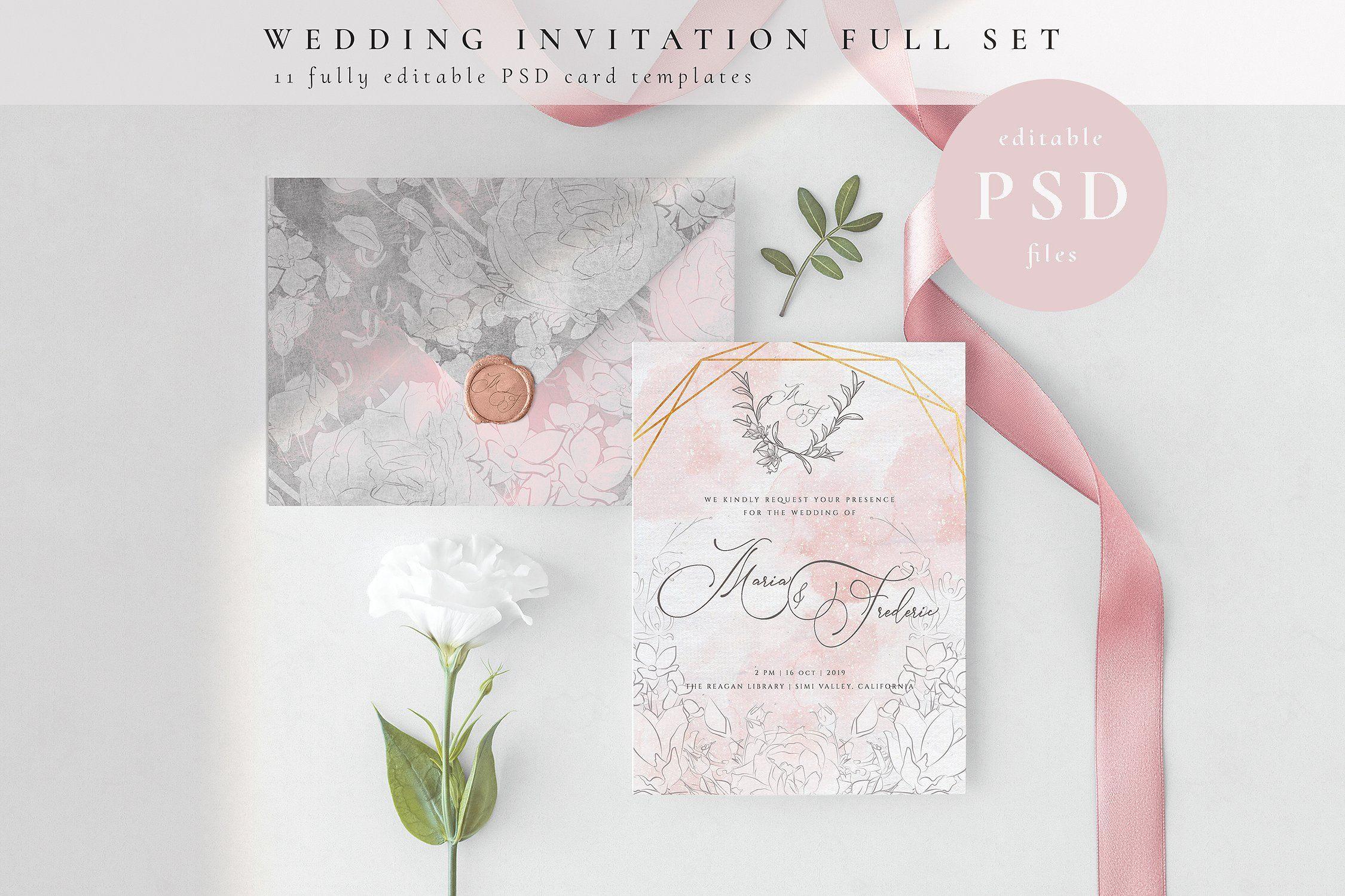 Wedding Invitation Full Set Psd Wedding Invitations Wedding Invitation Cards Wedding Invitation Card Template