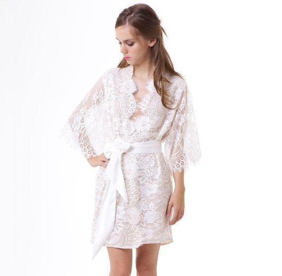 Ivory Off The Shoulder Lace Kimono Robe