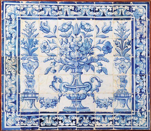 Albarrada painel de 56 azulejos decora o a azul for Azulejo azul