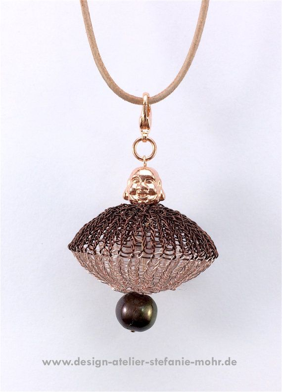 wire crochet UFO pendant with buddha and pearl on a leatherband ...