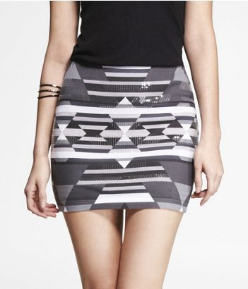 PRINTED SEQUIN EMBELLISHED MINI SKIRT | Express