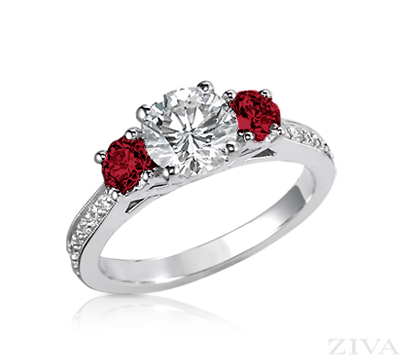 Diamond Engagement Ring With Ruby Sides Eternity Band Three Stone Ruby Engagement Ring Ruby Wedding Rings Stone Engagement Rings