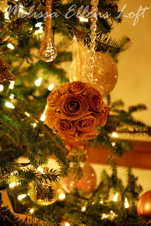 Paper Rose Ornament Ball for the tree! So pretty
