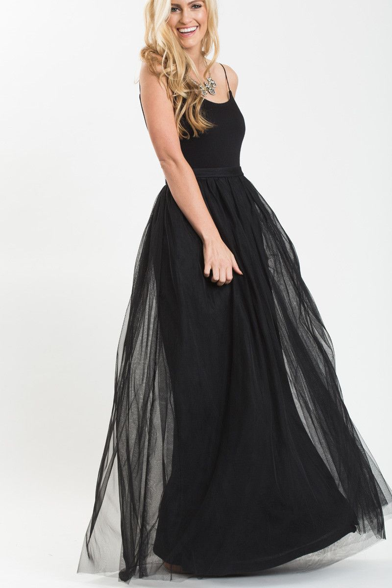 Anabelle black full tulle maxi skirt special occasion dresses