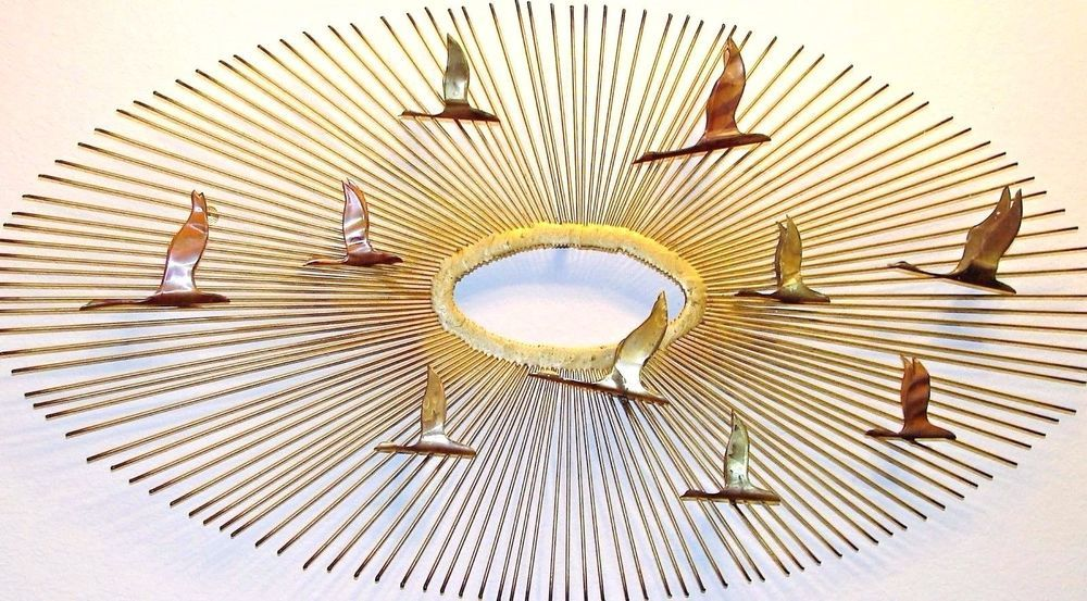 Sunburst Birds In Flight Metal Wall Sculpture Art Geese Friedle Jere ...