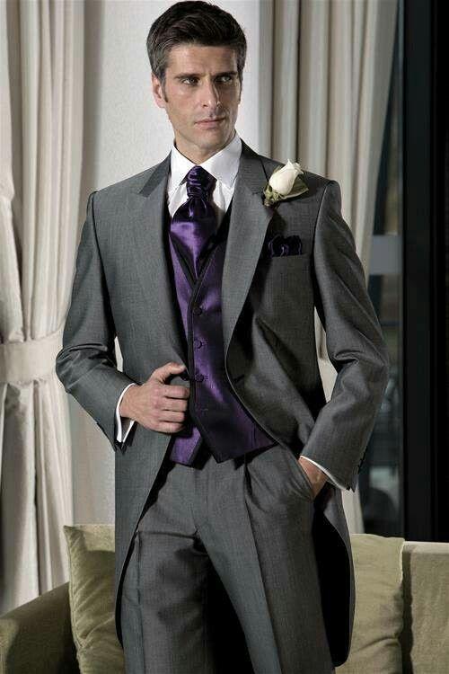 Groom Best Man Shiny Grey Wedding Suit With Purple Waistcoat Ideas ...