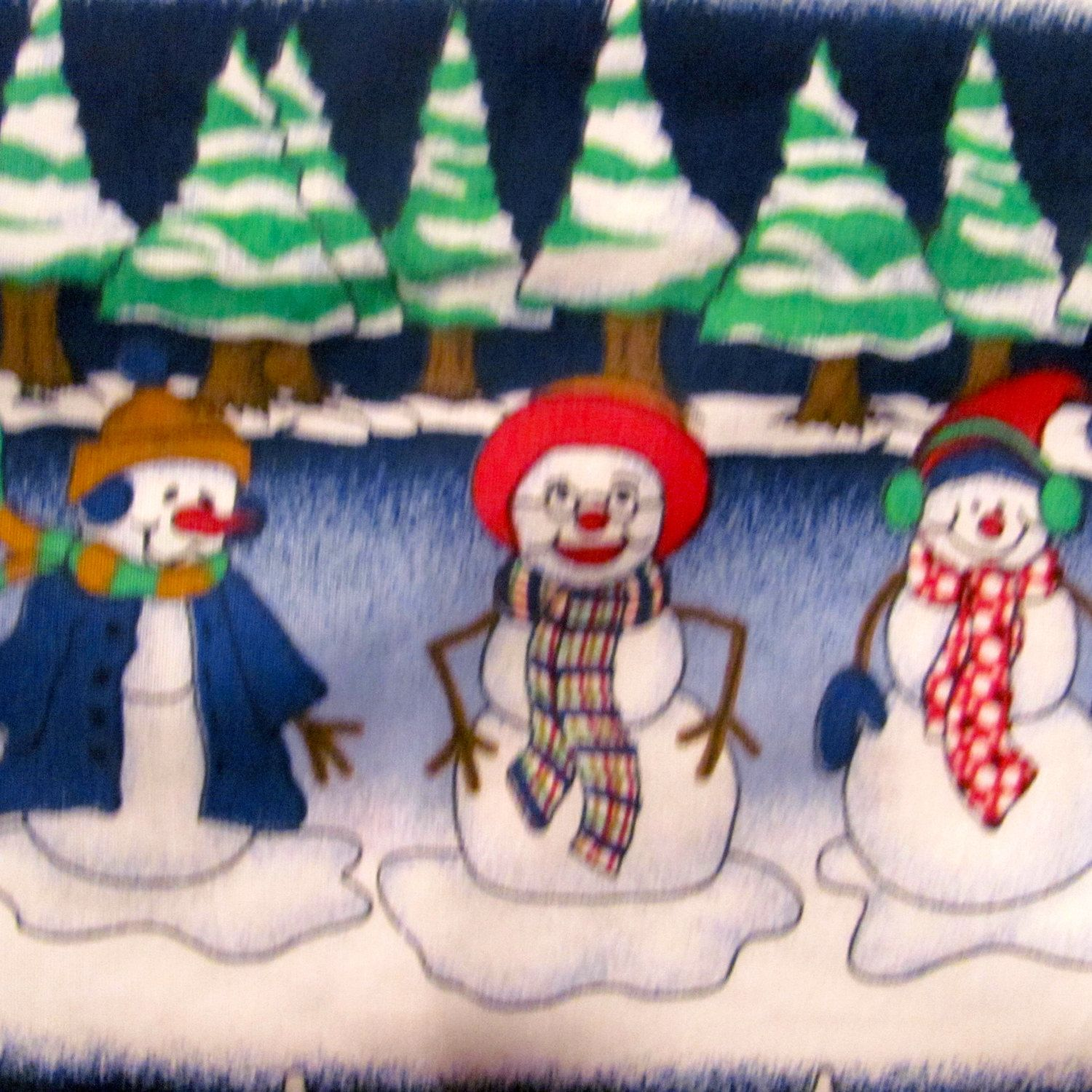 Four 1 yard Snowmen Fabric Panels by NewAgain on Etsy