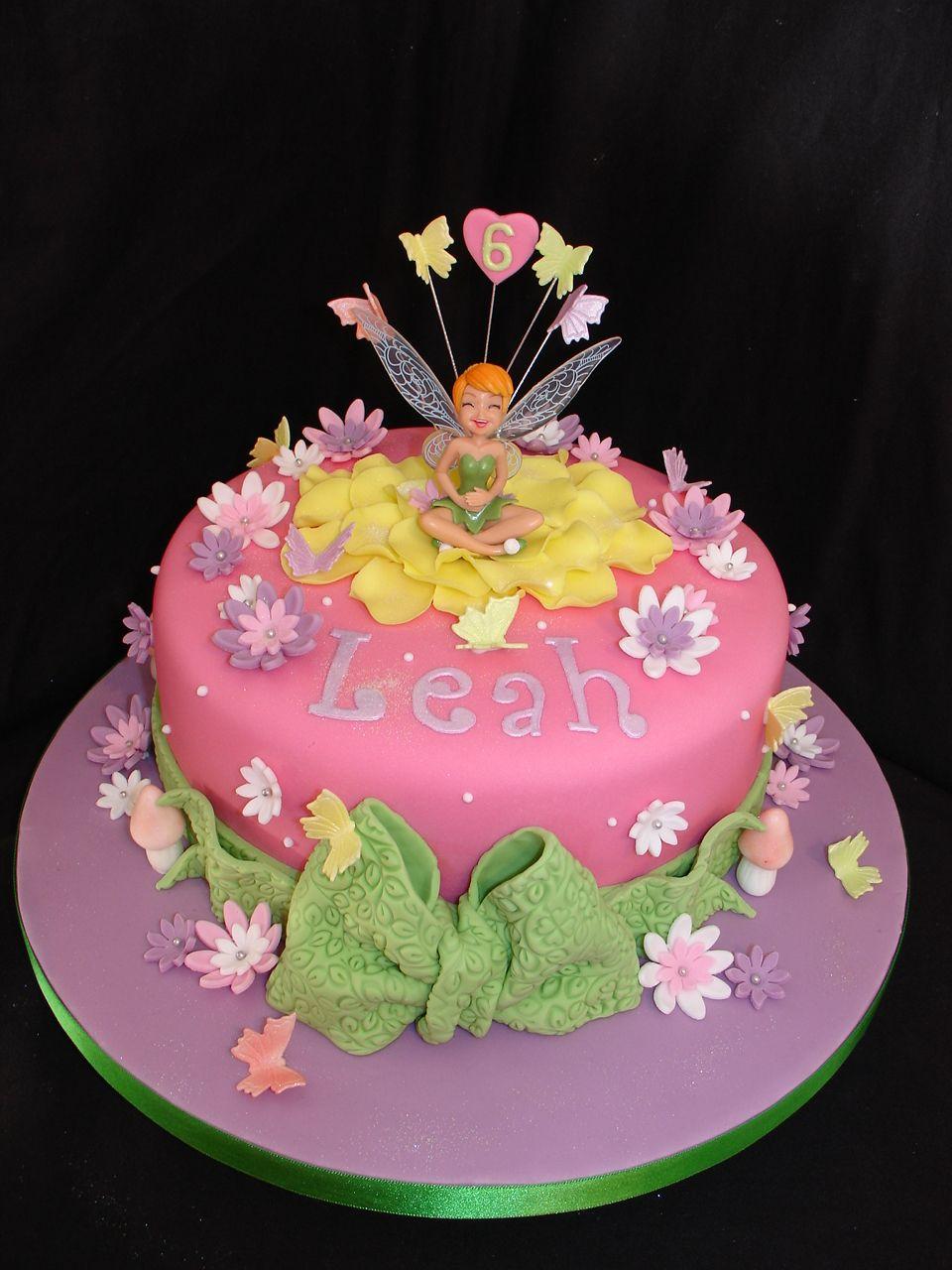Pink Tinkerbell Fondant Cake Disney Themed Cakes Tinkerbell Birthday Cakes Fairy Birthday Cake Fairy Garden Cake