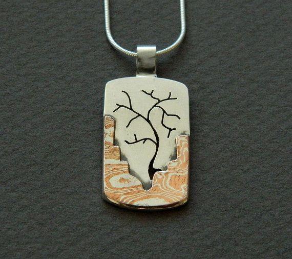 Mixed metal jewelry mokume gane pendant and silver tree pendant mixed metal jewelry mokume gane pendant and silver tree pendant mixed metal pendant aloadofball Gallery