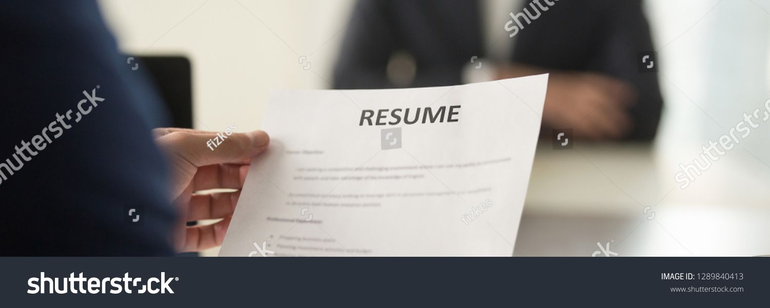 Boss Hr Manager Holds Resume Cv Paper Close Up Interviewing
