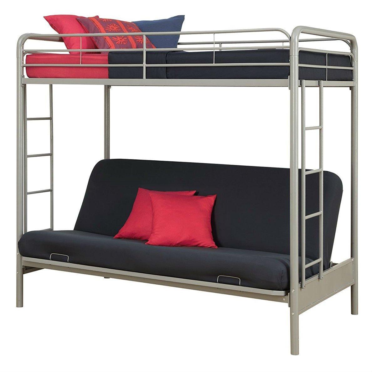 Twin Over Full Futon Bunk Bed In Silver Metal Finish Futon Bunk