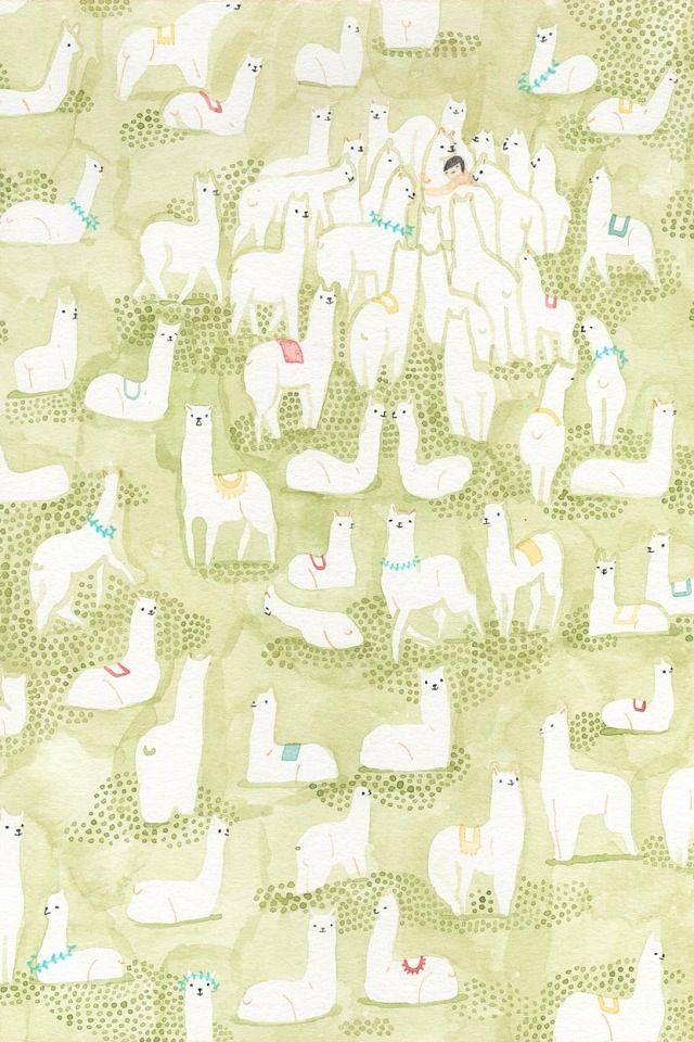 Adorable Llama Iphone Wallpaper