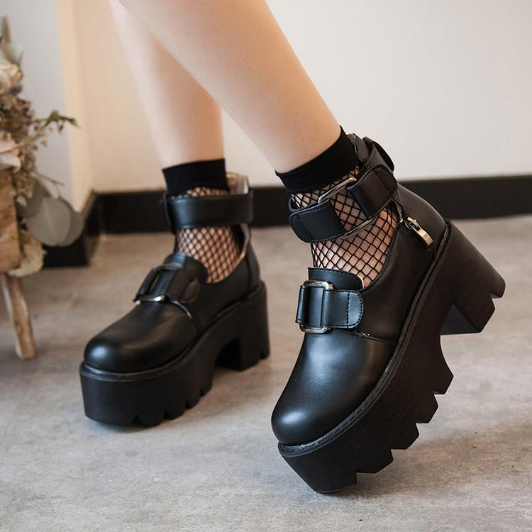 Black Punk Platform Shoes SE10036