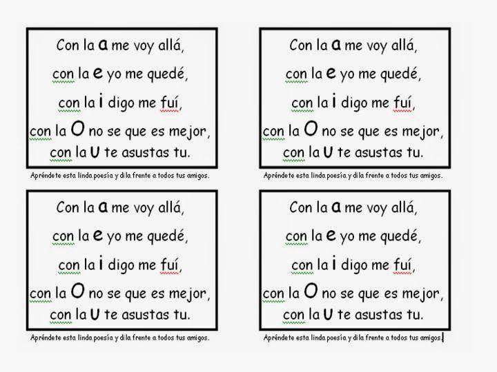Poesia De Las Vocales: Resultado De Imagen Para Poesias De Las Vocales Para Niños