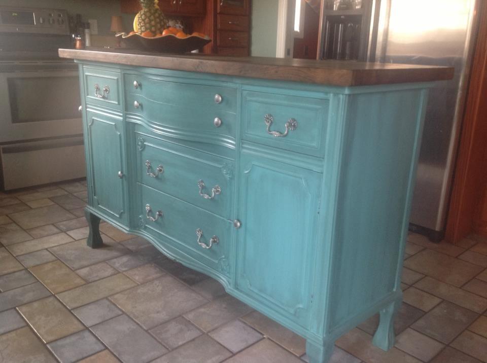 Repurposed Antique Dresser As A Kitchen Island With A: DIY REPURPOSED KITCHEN ISLAND