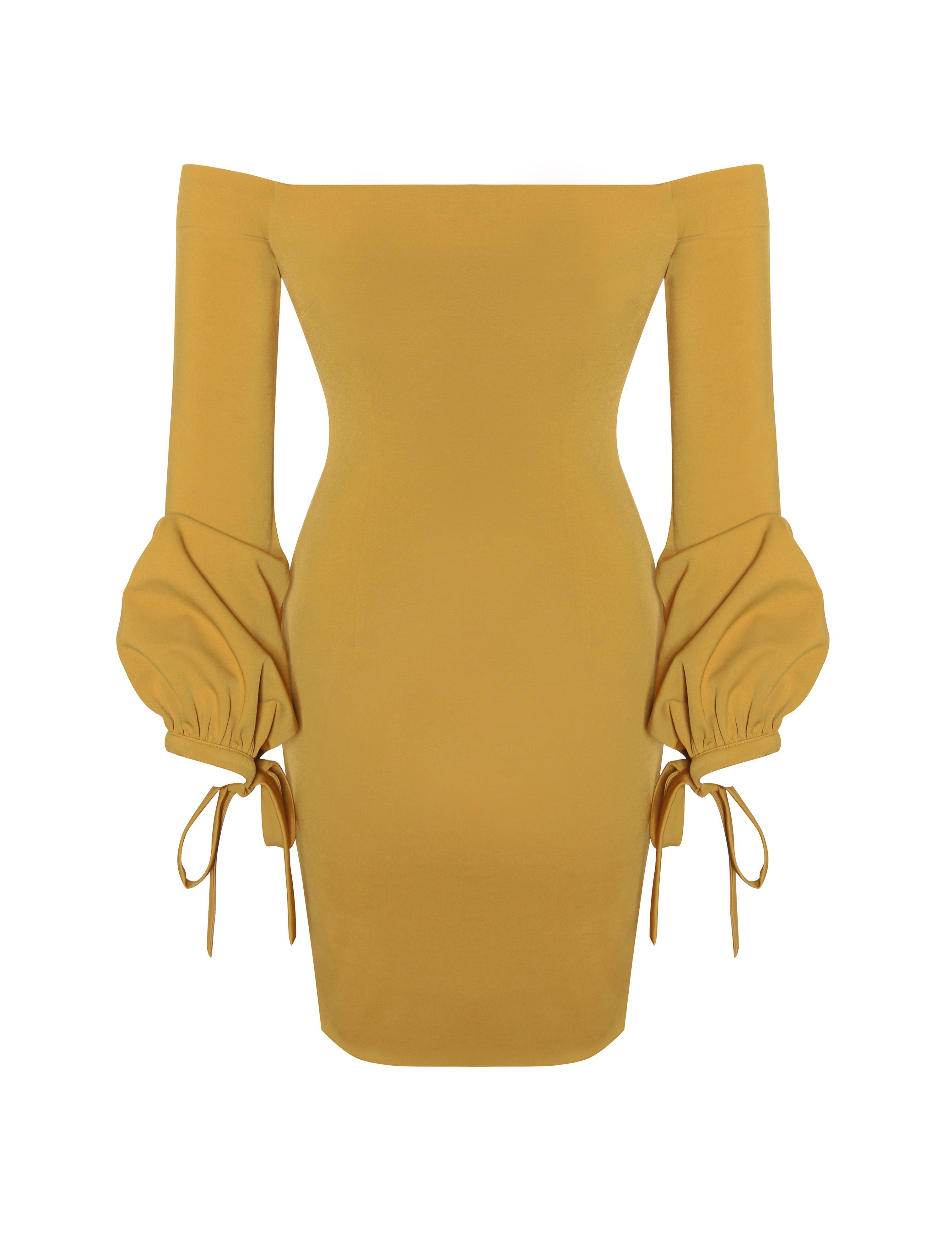 ada79f3ce014 Paloma Golden Yellow Off The Shoulder Dress
