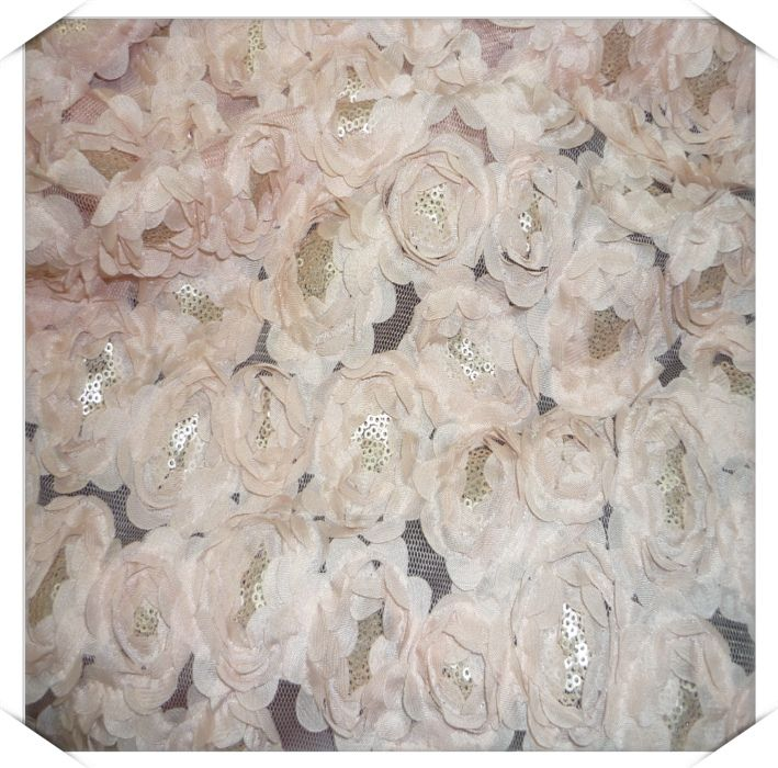 3d Flowers Chiffon Rosettes Paillette Lace Belt Tulle Fabric Clothes Wedding Dress Embroidery