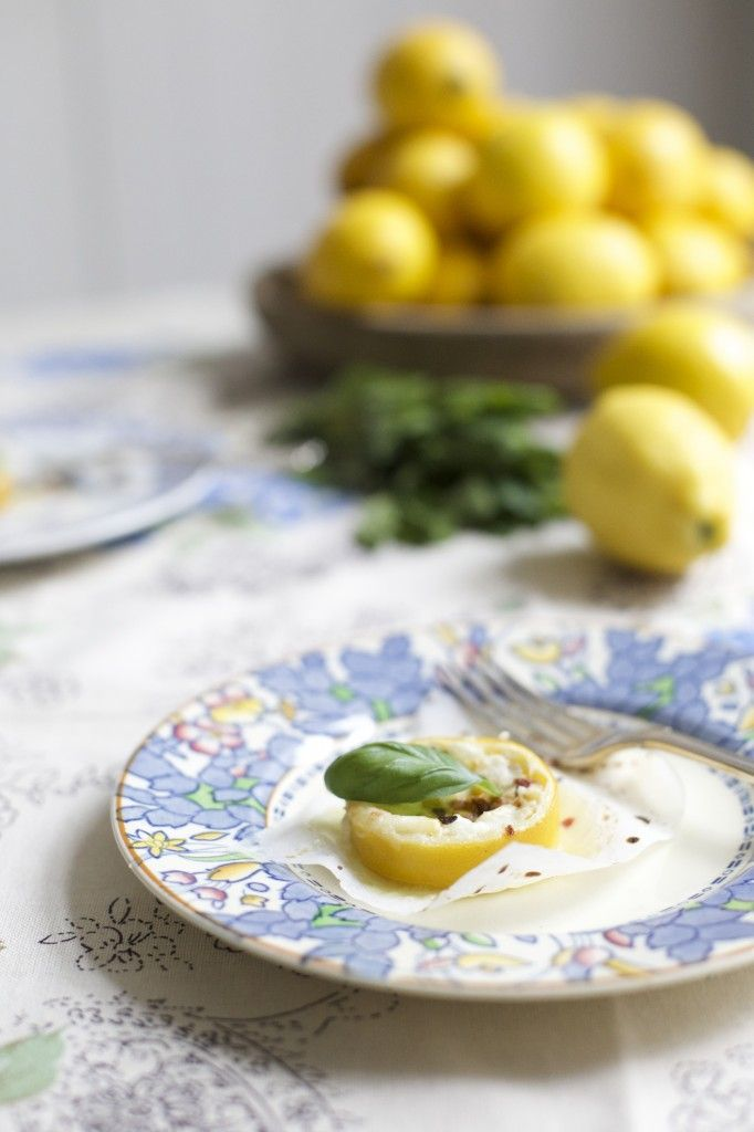 Baked Lemons with Mozzarella + Basil, Mint and Chilli