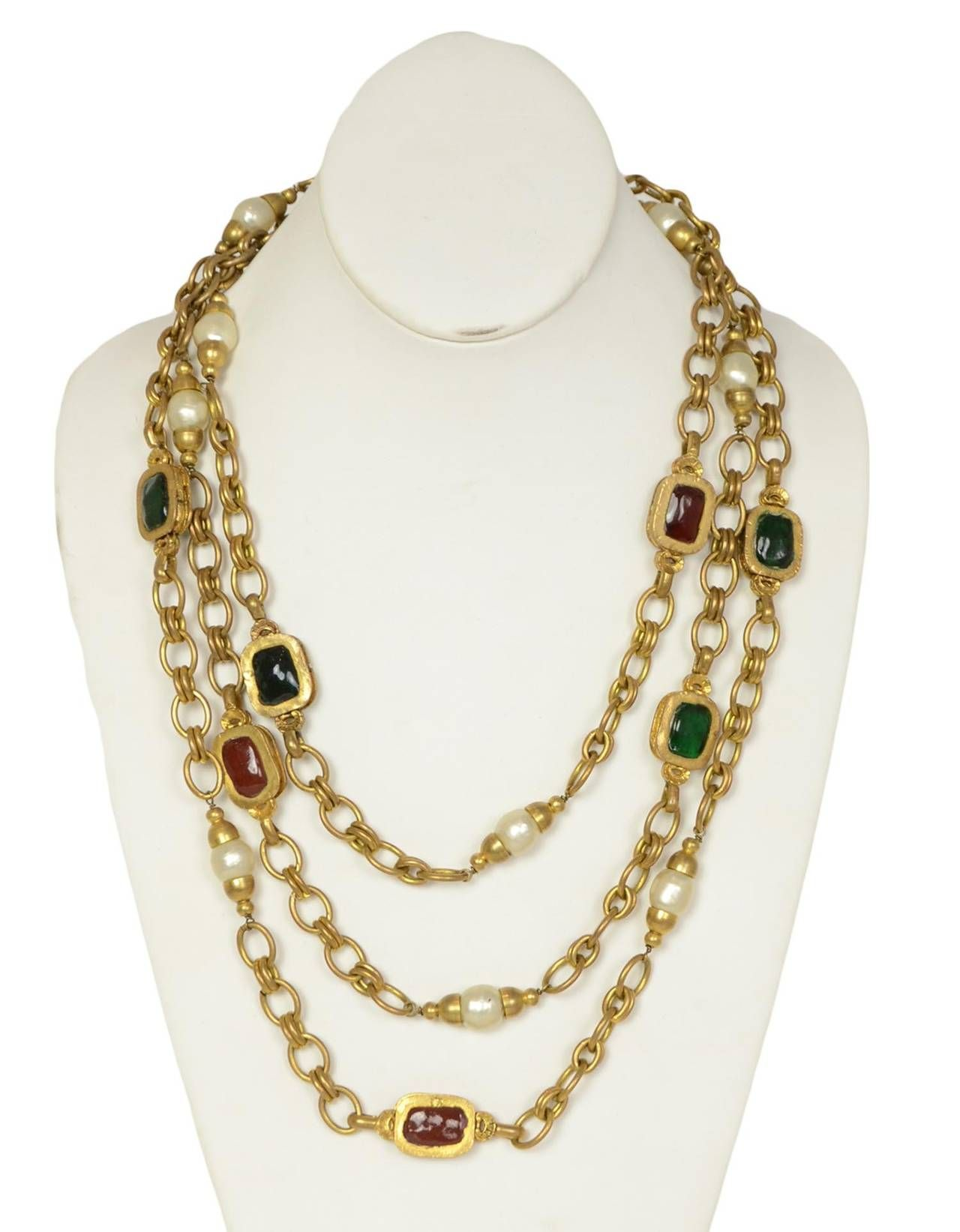 CHANEL Vintage Chain Necklace w/ Red and Green Gripoix and Faux Pearls c. 1984