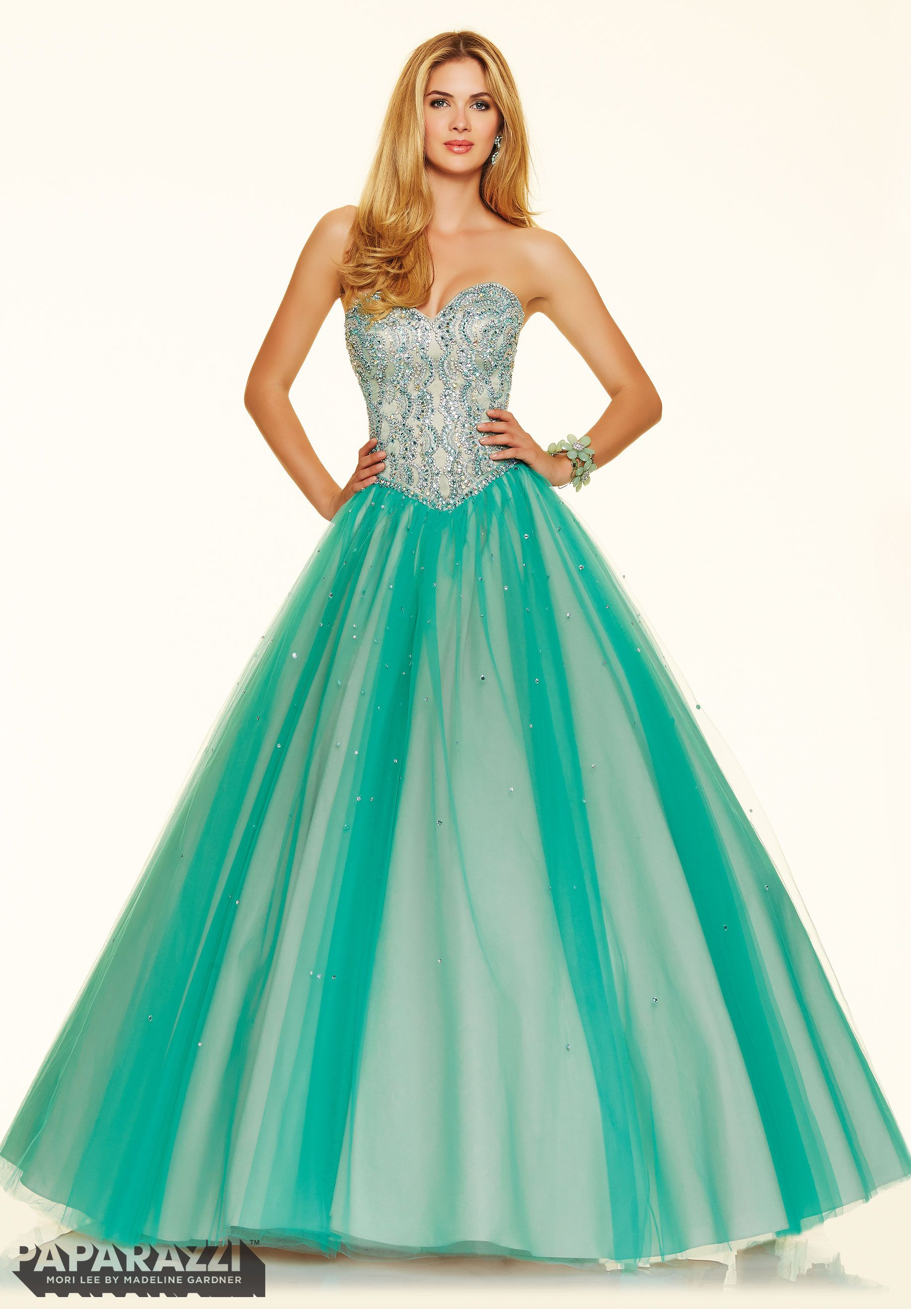 Prom Dress 98011 Jeweled Beading on a Tulle Ball Gown Mint | The ...