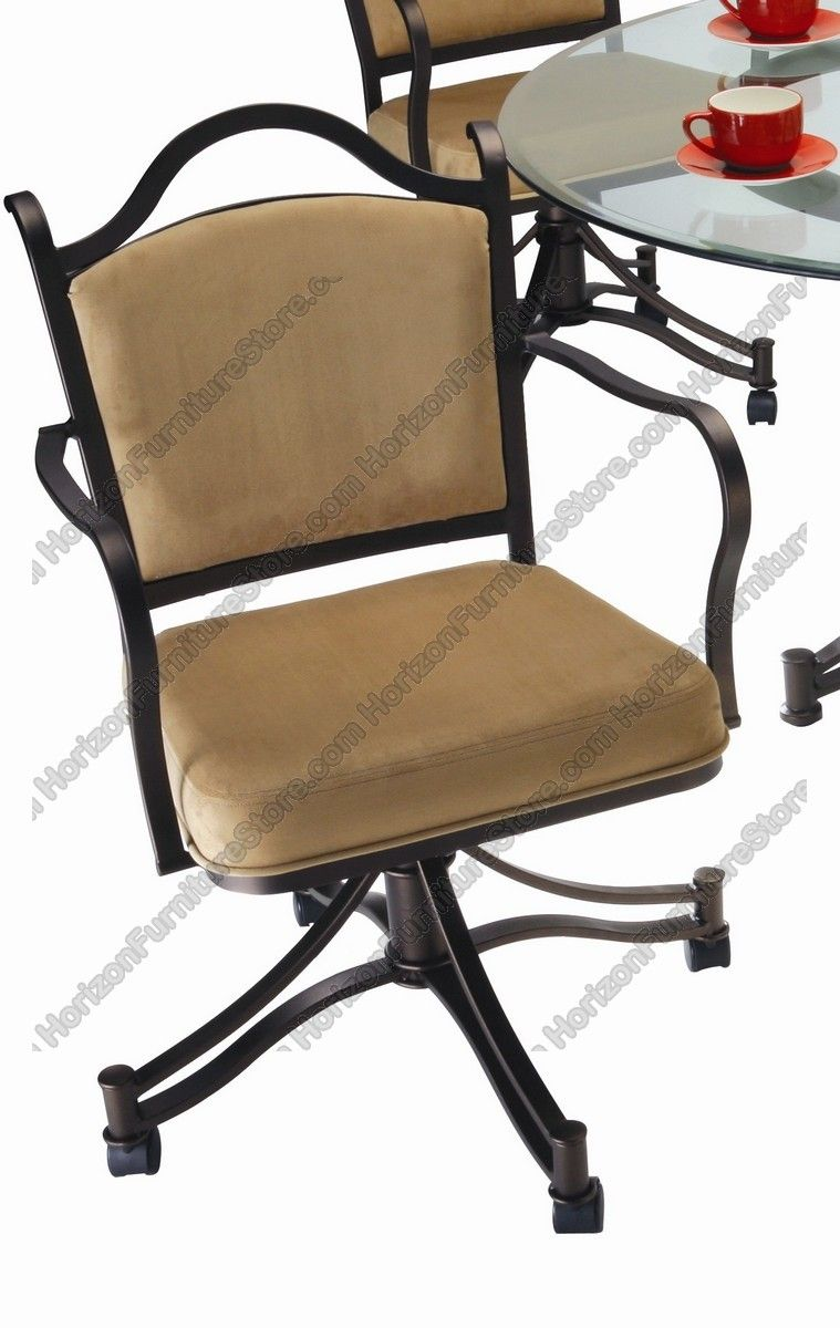 kitchen chairs with rollers Tempo Industries Cambridge Swivel Tilt Dining Arm Chair With Casters