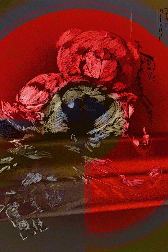 Digital Art Print Red Teddy Bear Wall Art by BeepArtsAndCrafts