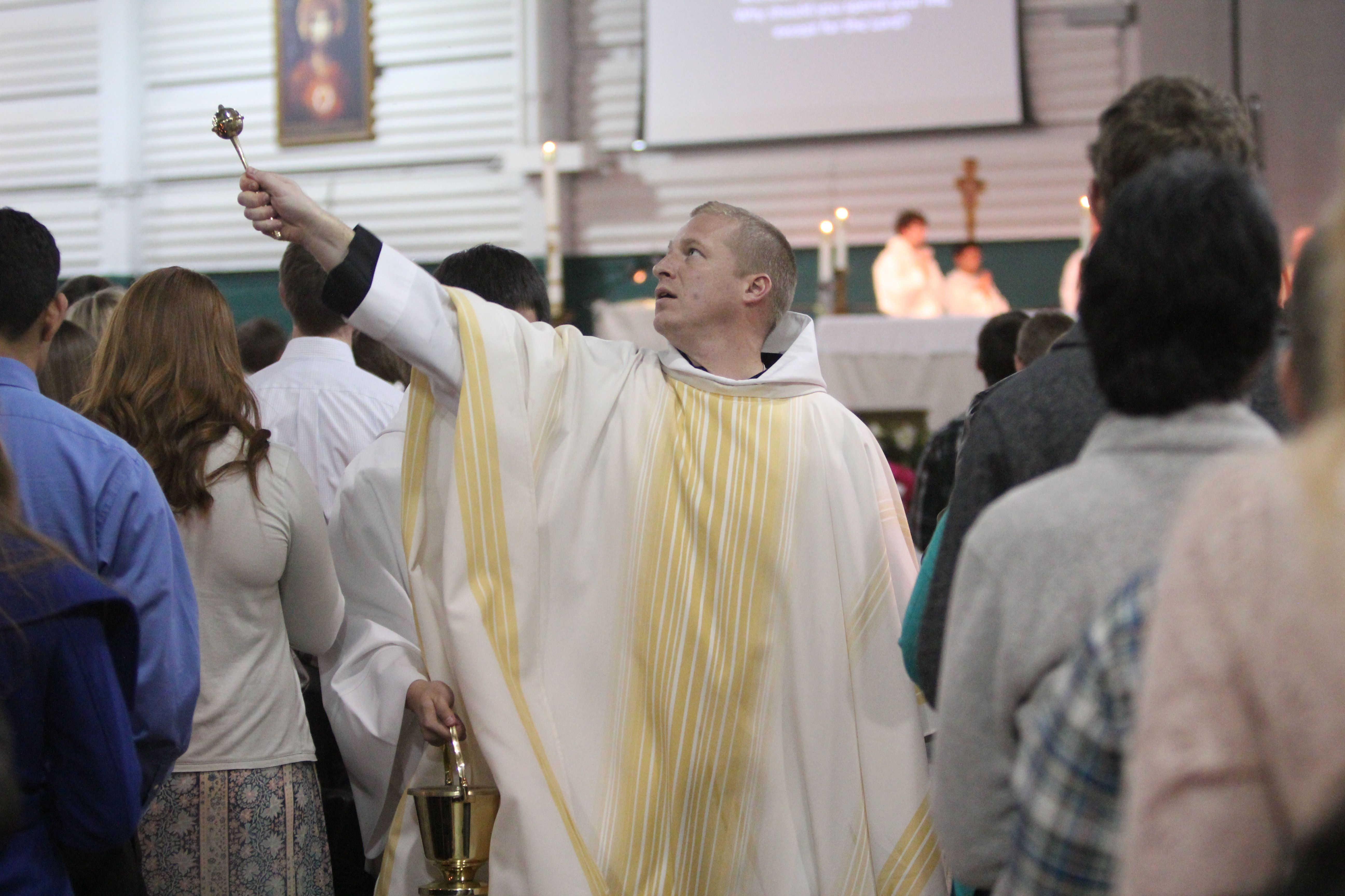 The Sprinkling Of Holy Water In Remembrance Of Baptism