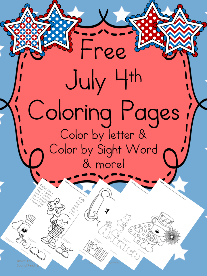 July 4th Coloring Pages Color By Letter Sight Word And More