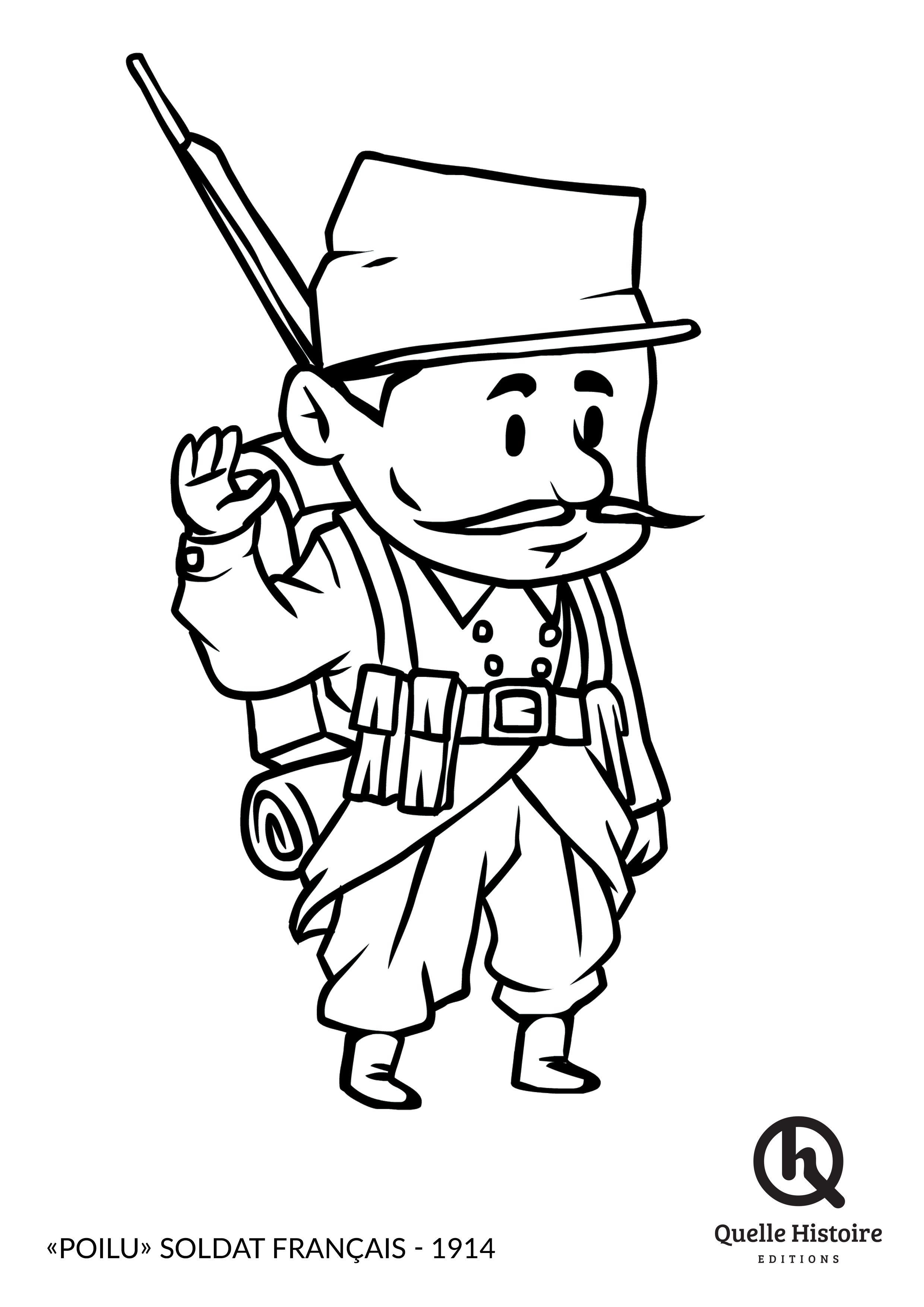 Coloriage Soldat Anglais.Le Poilu Soldat Francais En 1914 Coloriage Quelle Histoire