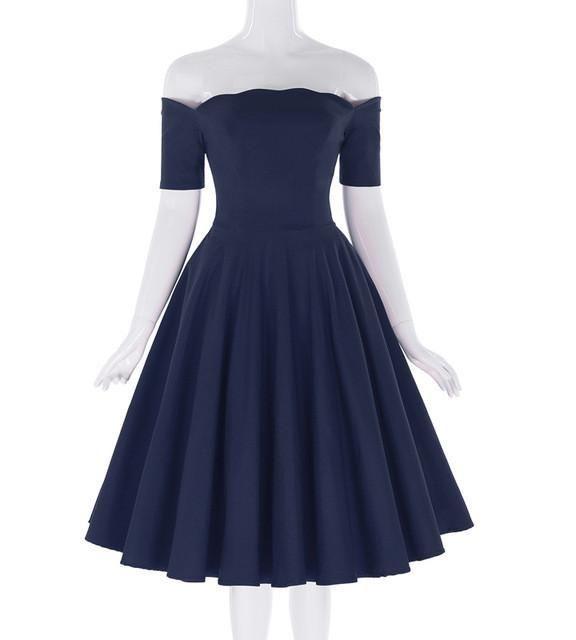 Belle Poque 2017 Frauen Kleid Robe Vintage Schulterfrei Schwarz Sommerkleid Jurken 1950er 60er Jahre Retro Rockabilly Swing Party Kleider #vintagefashion1950s