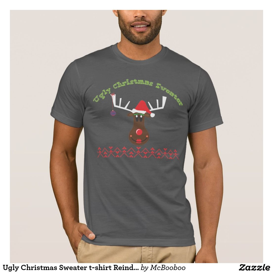 Ugly Christmas Sweater T Shirt Reindeer The Most Wonderful Time Of