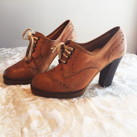 Vintage leather wooden heels