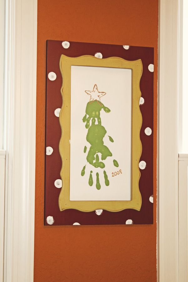 Crafty Southern Mama: Holiday Open House  handprint tree with three kids hands