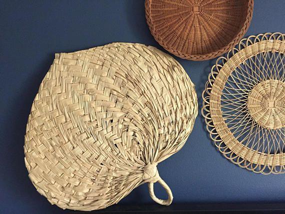 Large Vintage Straw Heart Fan Wall Decor Large Grass Fan