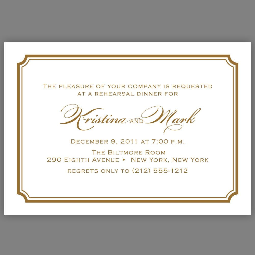 Wedding Rehearsal Dinner Invitation Simple Script Sophisticated