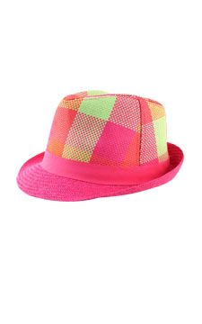 168a7c267a224 Plaid Straw Fedora front view