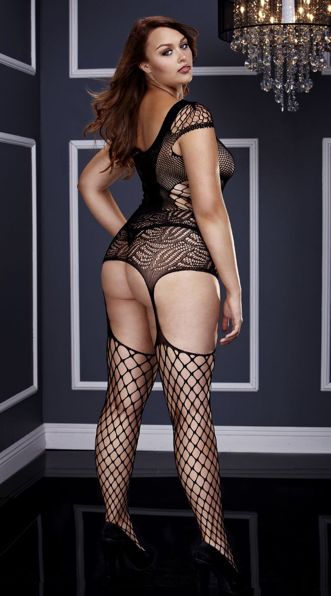 1ff0faee60d Plus Size Fishnet and Corset Front Suspender Bodystocking