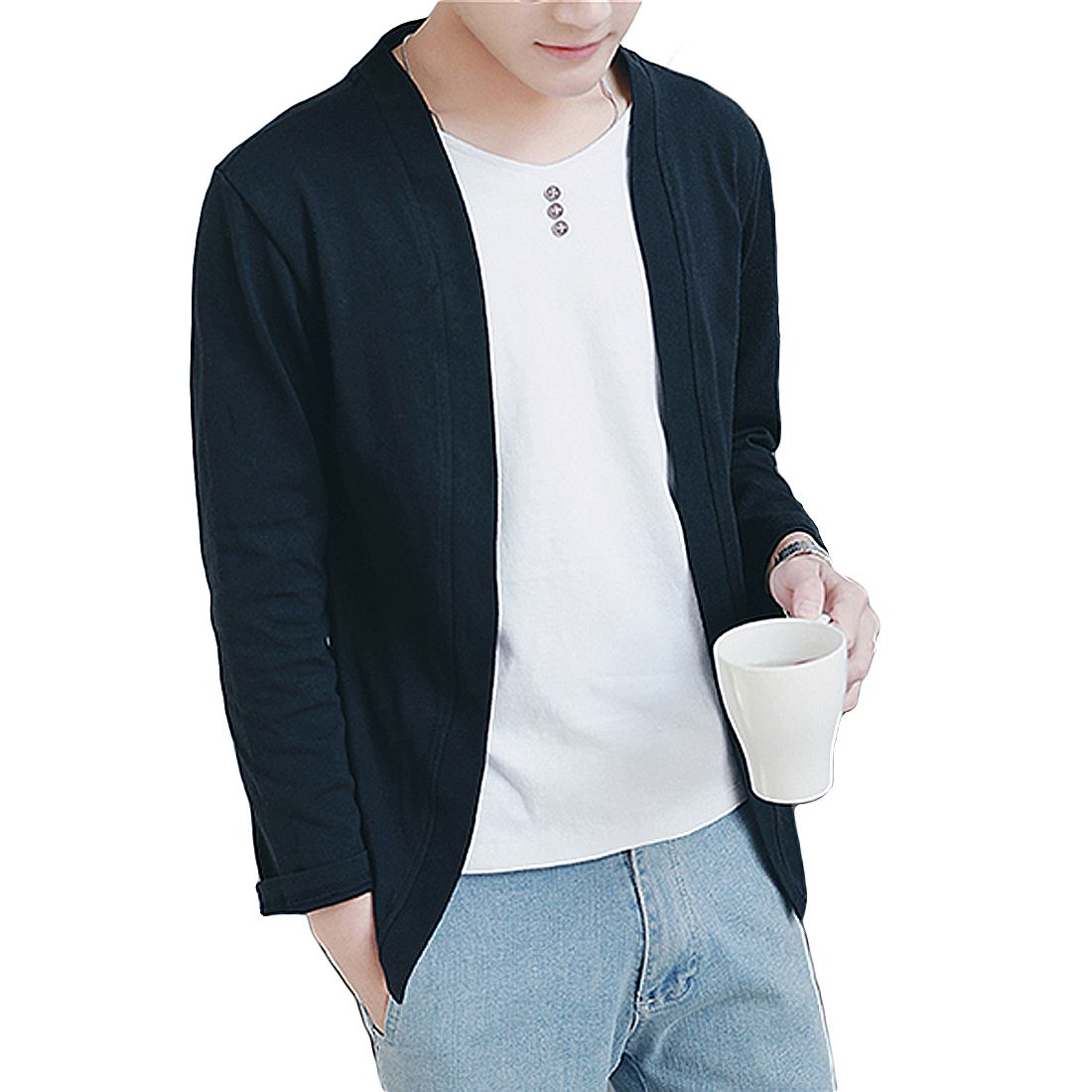 Spring Autumn Thin Sweater Coats Men Long Sleeve Casual Slim ...