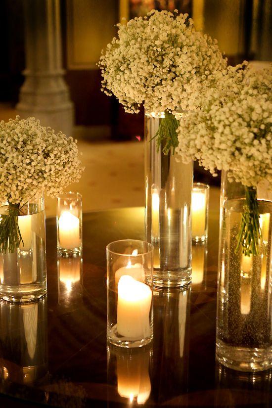 Bouquet de Paniculata Blanca como centro de mesa en Bodas centros