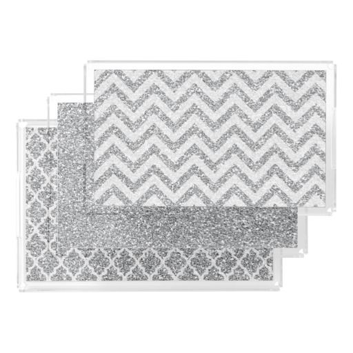 Acrylic faux glitter Vanity tray set silver