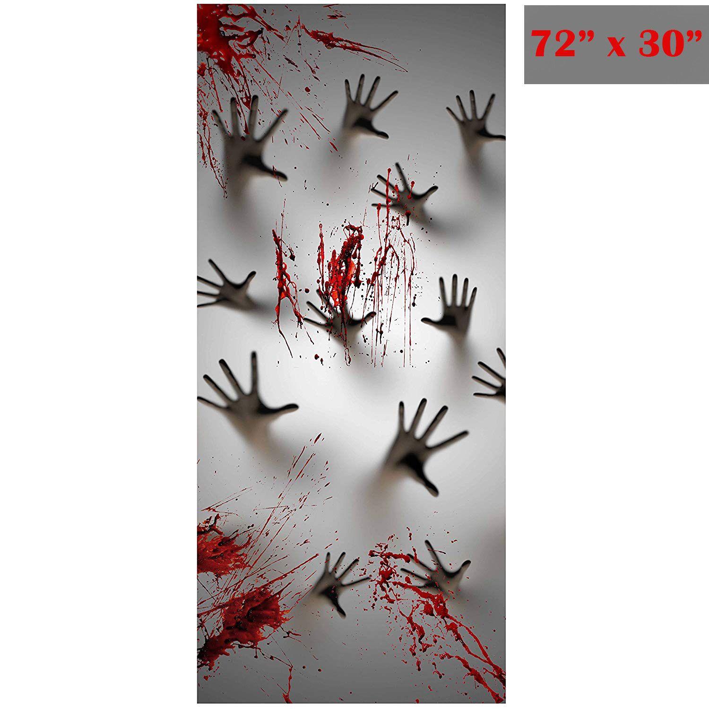 Halloween window decor ideas  halloween window door cover haunted house decoration zombie hands